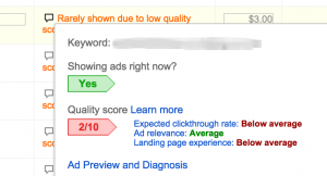 Google Adwords keyword quality score box